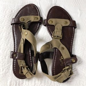 Olive Buckle Sandals